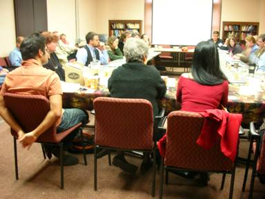Arun Saldanha (U of Minnesota), Susan Noakes (U of Minnesota) and Geraldine Heng (U of Texas) seated in the foreground